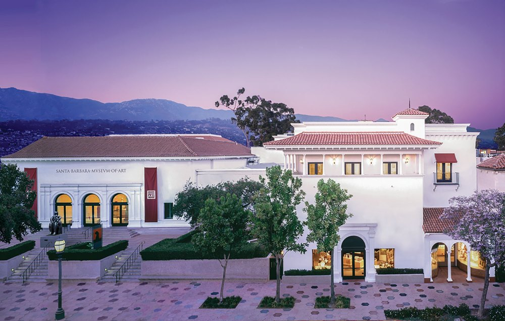 Santa Barbara Museums, white stucco exterior of the art museum against a backdrop of distant mountains