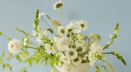 white and green floral arrangement