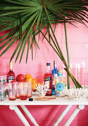 an at-home bar, with a vase of palm fronds, against a bright pink wall,