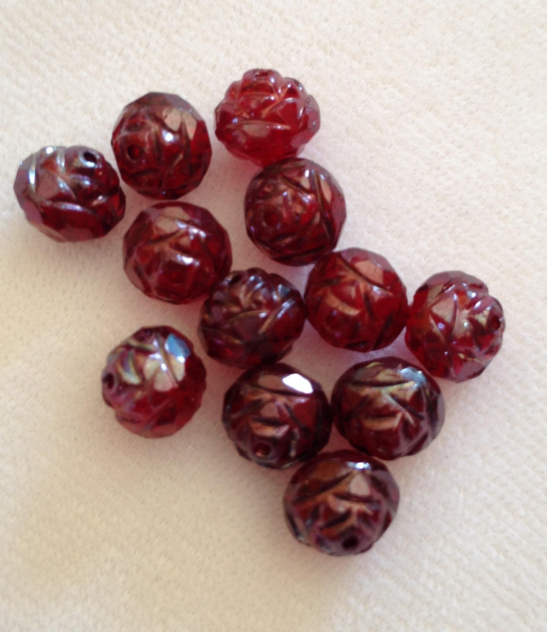 Garnet Colored Czech Rose Beads