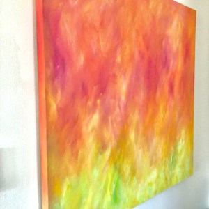 "Tulip Fire Painting, 36x36"", side view"