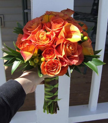 Orange roses bride bouquet picturesjpg