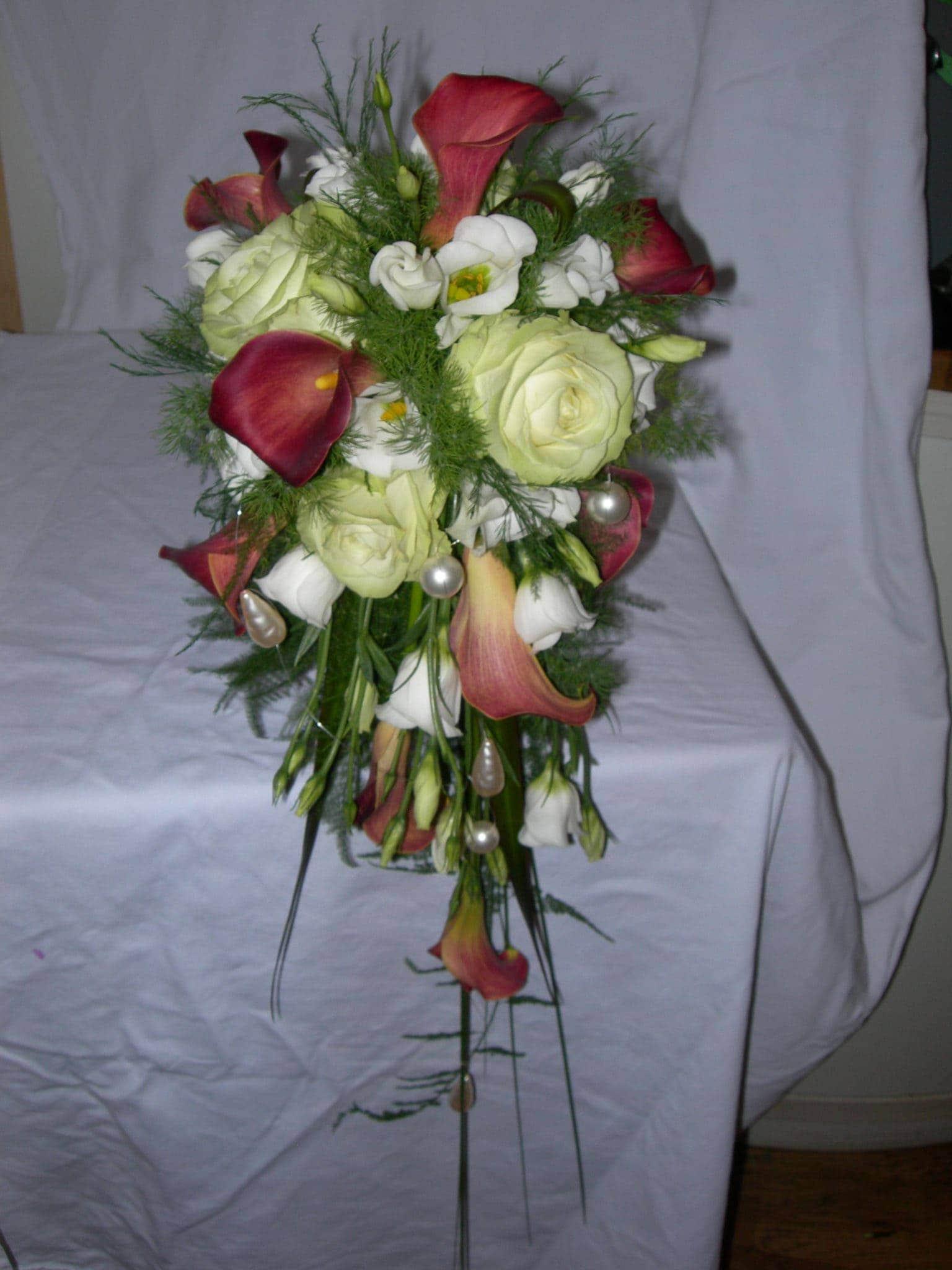 Calla Tischdeko Hochzeit Brautstrauss Creme Calla Mit Strassband