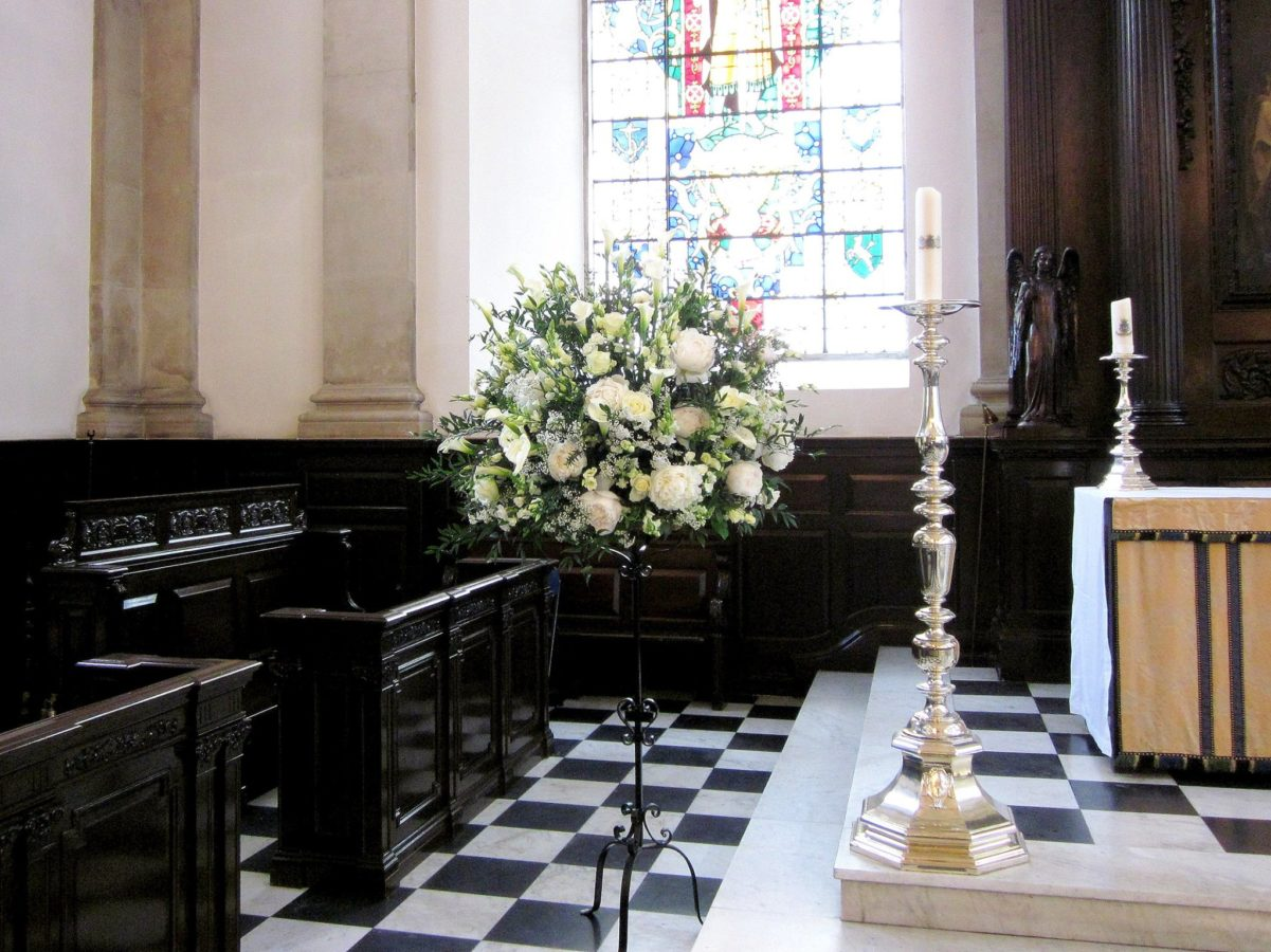 Wedding Flowers - Pedestal Arrangement In Church