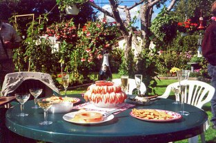 Canapes and champagne, my parents' 40th wedding anniversary (2000)