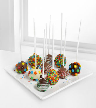 Golden Edibles Birthday Belgian Chocolate-Dipped Cake Pops - FedEx