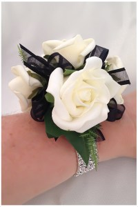White roses with black organza ribbon and diamante wristband