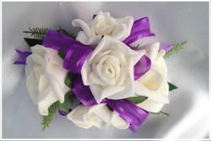 White roses with purple organza/satin ribbon