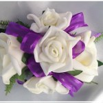 White roses with purple organza/satin ribbon
