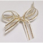 Ivory with gold thread organza ribbon