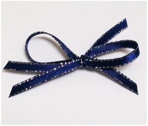 Thin Navy Blue ribbon with silver trim