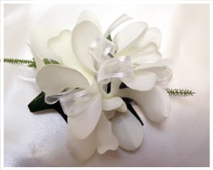 Orchids with white organza ribbon
