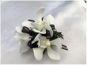 Orchids, black organza ribbon, diamantes throughout.
