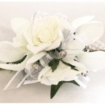 Roses and Orchids wrist corsage, white/silver thread organza ribbon, diamantes, pearl wristband.
