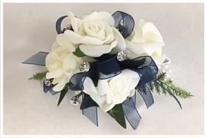 White rose wrist corsage, pearl wristband, diamantes, navy organza ribbon.