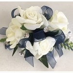 White rose wrist corsage, pearl wristband, diamantes, navy organza ribbon.