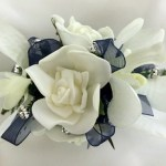 Rose/orchid mix with ivory satin ribbon added gold diamantes.
