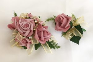 Dusty pink rose corsage and buttonhole with added gold diamante`s and gold organza ribbon.