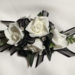 White roses, black organza with silver thread, added diamante`s.