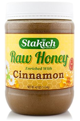 Stakich CINNAMON Enriched RAW HONEY 40-OZ – 100% Pure, Unprocessed, Unheated –