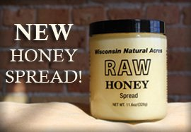 Wisconsin Natural Acres Premuim 100% Raw Honey 3 Ounces Small