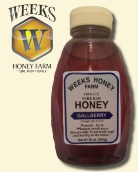 16oz (1lb) – Gallberry Honey – Pure, Raw, Unfiltered, Unheated