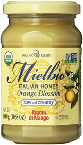 Rigoni Di Asiago Mielbio Italian Raw and Creamy Honey, Orange Blossom, 10.58 Ounce, 6-jars
