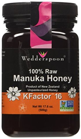 Wedderspoon Raw Manuka Honey Active KFactor 16, 17.6-Ounce Jar (17.6 oz x 2)