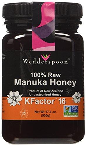 Wedderspoon Raw Manuka Honey Active KFactor 16, 17.6-Ounce Jar (17.6 oz x 2)