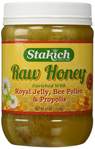Stakich ROYAL JELLY BEE POLLEN PROPOLIS Enriched RAW HONEY 5-LB – 100% Pure, Unprocessed, Unheated –