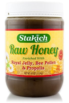 Stakich ROYAL JELLY BEE POLLEN PROPOLIS Enriched RAW HONEY 40-OZ – 100% Pure, Unprocessed, Unheated –
