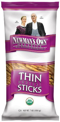 Newman's Own Organics Pretzels, Thin Sticks, 7-Ounce Bags (Pack of 12)