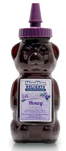 NomNom Delights Gourmet Huckleberry Honey 12 Oz (355g) Premium Clover Honey Mixed With Huckleberry Juice!