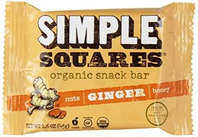 Simple Squares Organic Snack Bar, Ginger, 12 Count