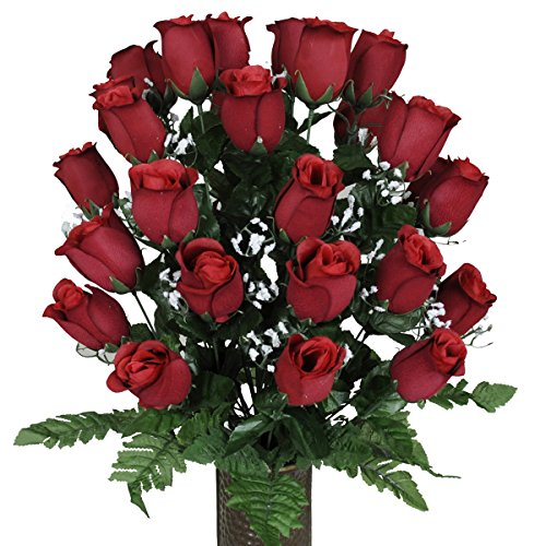 Red Roses with Stay-In-The-Vase ® Design Cemetery Flowers (MD1075)