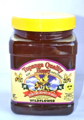 Topanga Quality Honey (Wildflower Floral Source) Raw, Unfiltered, Unpasturized, Best Quality, All Natural, Kosher – 3 Pounds Each