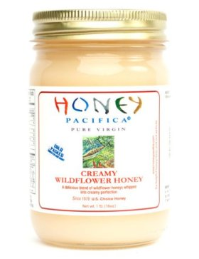 Creamy Wildflower Raw Honey by Honey Pacifica – Unheated & Unprocessed Honey – 16 oz Glass Jar