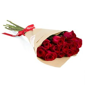 12 Long Stem Red Roses Hand-tied Bouquet -No Vase