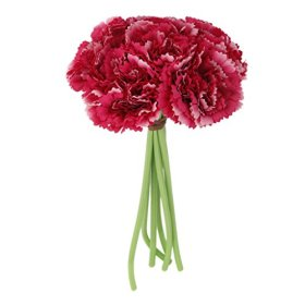 Wedding Silk Carnation Flower Bunch Rose Red