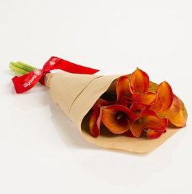 Orange Mini Calla Lilies Hand-tied Bouquet- No Vase