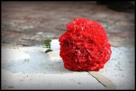 Classic Red Carnation Bridesmaids Bouquet
