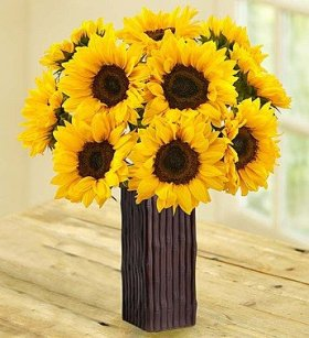 1-800-Flowers – Sunflower Bouquet – 10 Stems with Brown Bamboo Vase