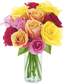 Blooming 12 Long Stemmed Assorted Rose Bouquet – With Vase