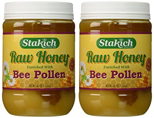 Stakich BEE POLLEN Enriched RAW HONEY 5-LB – 100% Pure, Unprocessed, Unheated –