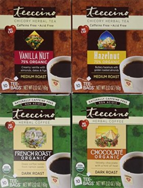 Teeccino Coffee Alternative Variety Pack – 10 Tee-Bags of each – Chocolate, French Roast, Hazelnut and Vanilla Nut
