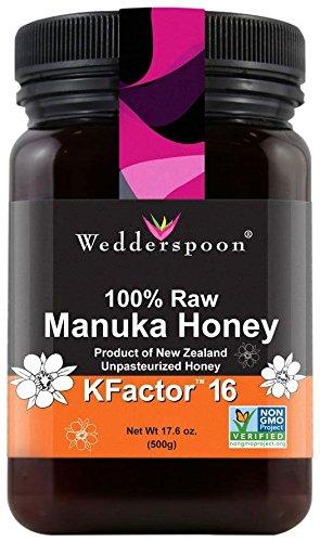 Wedderspoon Organic 100% Raw Premium Manuka Honey KFactor 16+ – 17.6 Ounces