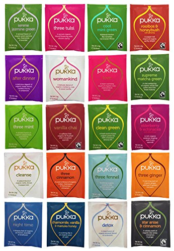 Pukka Tea Organic Variety Pack with 20 Flavors, 2 of Each (40 Count), Includes The Curated Pantry Gift Tag