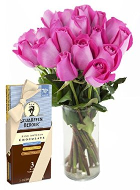 Bouquet of Long Stemmed Pink Roses (Dozen and a Half) and Scharffen Berger Chocolate – With Vase
