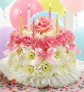 Flowers by 1800Flowers – Birthday Flower Cake Pastel