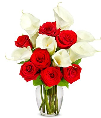 Flowers – Red Rose & Calla Lily Bouquet – Premium (FREE Vase Included)